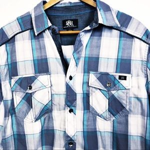 Rock & Republic Men's Button Down Plaid Shirt